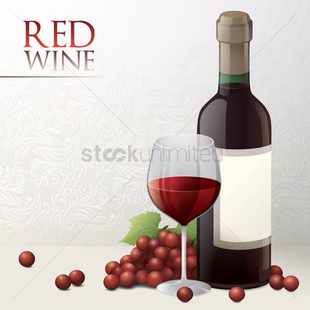 Grapes : Bottle of wine with glass