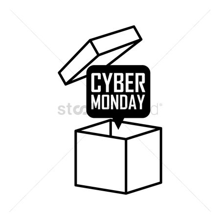 Terms : Box with cyber monday speech bubble