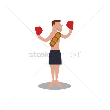 Boxing glove : Boxer with champion belt
