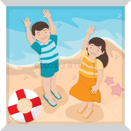 Lifebuoy : Boy and girl playing on beach
