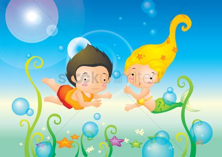 Starfishes : Boy and mermaid swimming underwater