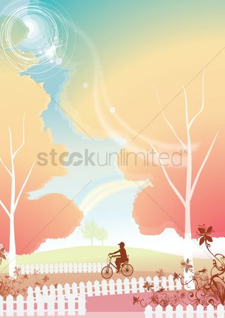 Boys : Boy cycling in a park