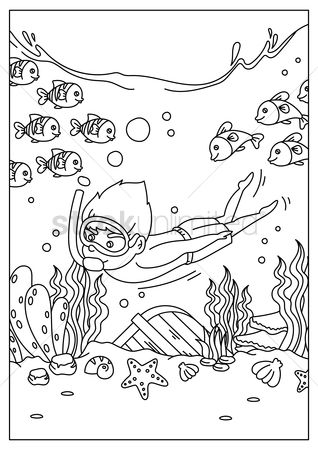 Sketching : Boy diving underwater
