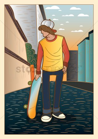 Skateboard : Boy holding skateboard