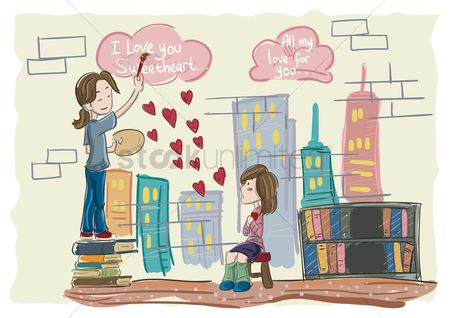 Valentines day : Boy painting for a girl