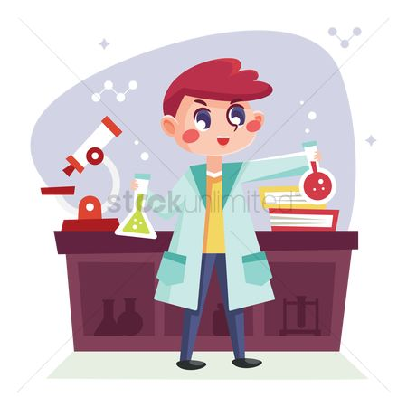 Coats : Boy performing a science experiment in the laboratory