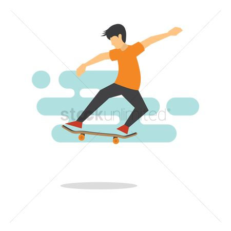 Skateboard : Boy performing tricks with his skateboard