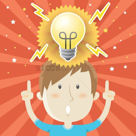 Imaginations : Boy with and idea bulb