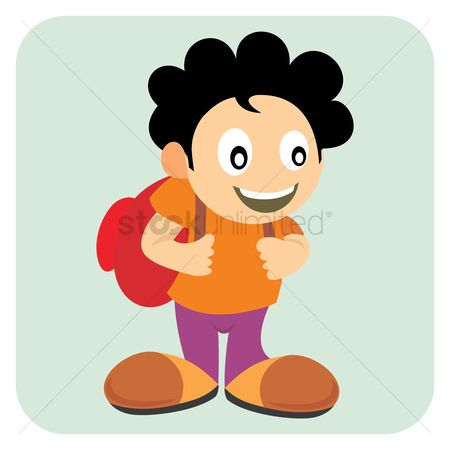 School bag : Boy with backpack