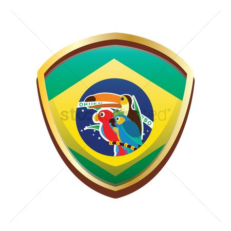 Toco toucan : Brazil badge with birds