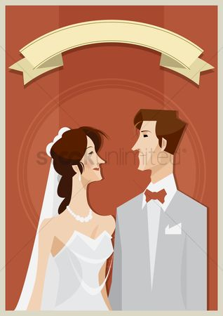 Tux : Bride and groom with copy space design