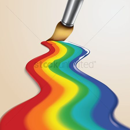 Brushes : Brush painting rainbow colors