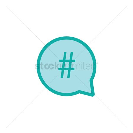 Notification : Bubble speech with hashtag