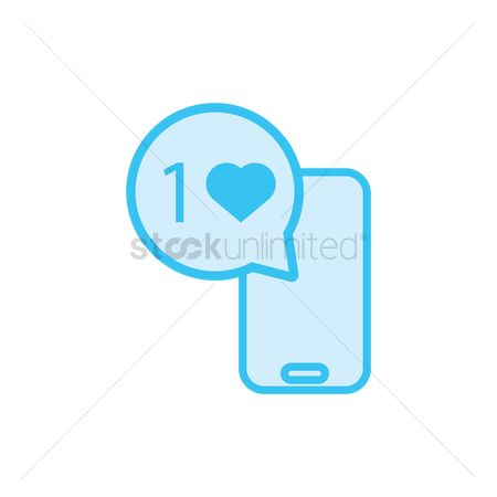 Love speech bubble : Bubble speech with heart beside a phone icon