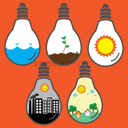 Pollution : Bulb with ecological concepts
