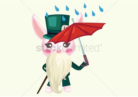 Hare : Bunny with beard walking in the rain with umbrella