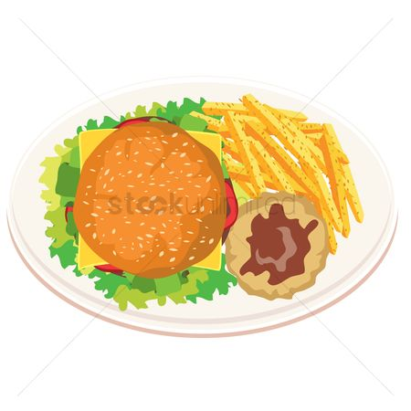 Dinner : Burger with mashed potato and french fries
