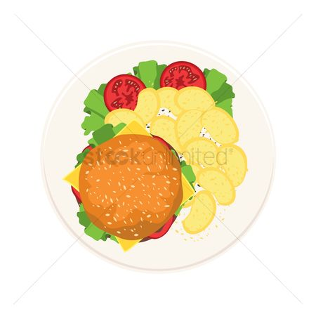 Crisp : Burger with salad and chips