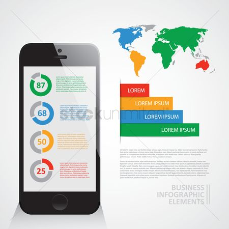 Red : Business infographic elements
