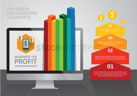 Profits : Business infographic elements