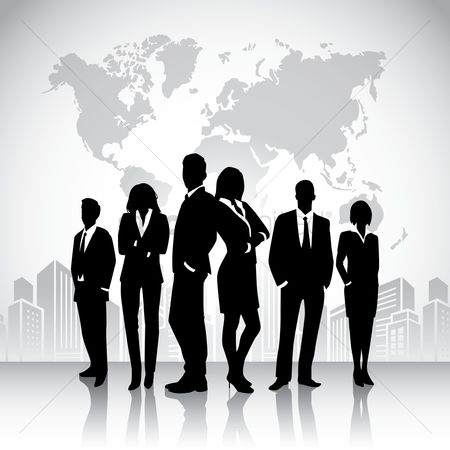 Workers : Business people silhouette against world map