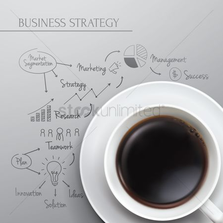 Coffee cups : Business strategy diagram concept