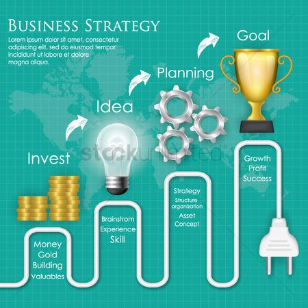 Trophy : Business strategy diagram concept