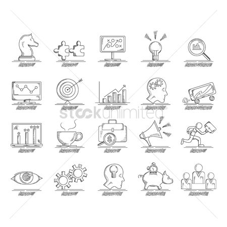 Magnifying : Business strategy icon set