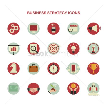 Chimneys : Business strategy icons set