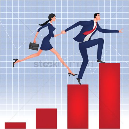Work : Businessman and businesswoman running on bar graph