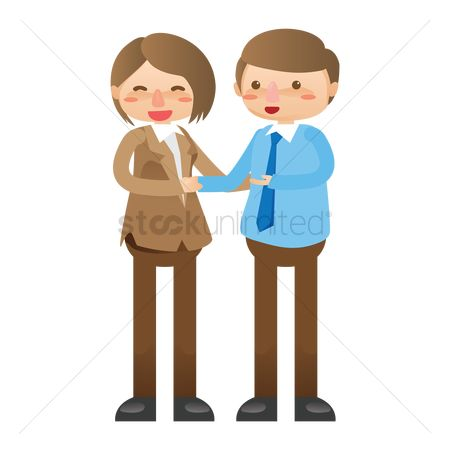 Executive : Businessman and businesswoman shaking hands