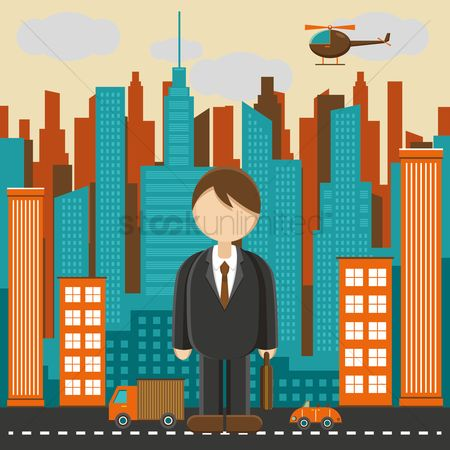 Towers : Businessman and town
