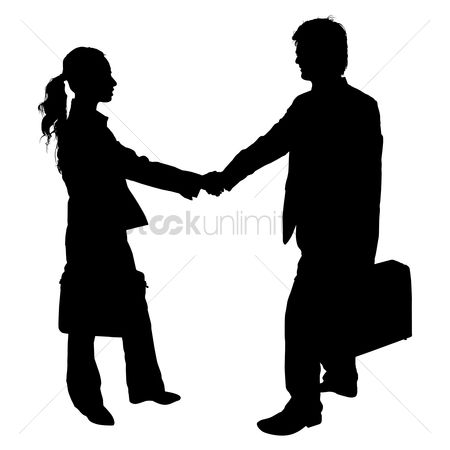Business deal : Businessman and woman shaking hand silhouette