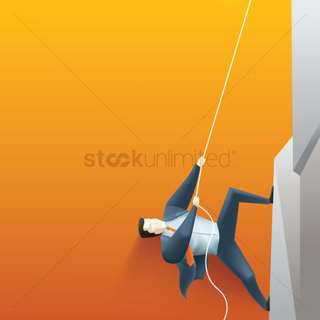 Achievements : Businessman climbing up a mountain
