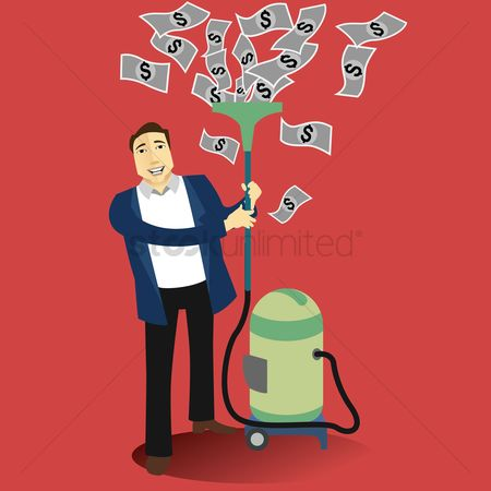 Cleaner : Businessman collects money with vacuum cleaner