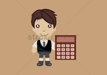 Calculations : Businessman holding calculator
