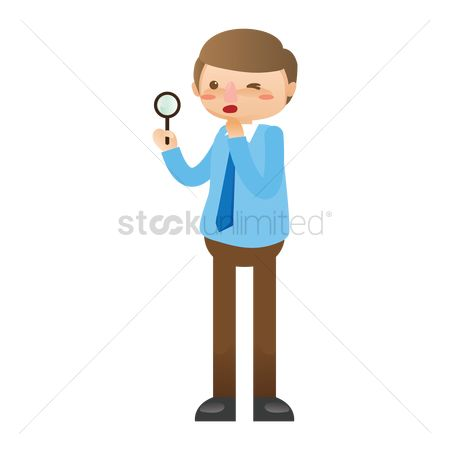 Managers : Businessman holding magnifying glass