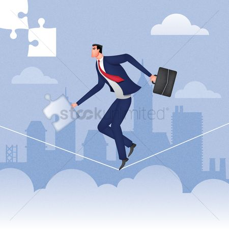 Entrepreneur : Businessman holding puzzle piece and doing a tightrope walk
