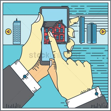 Office  building : Businessman holding smartphone