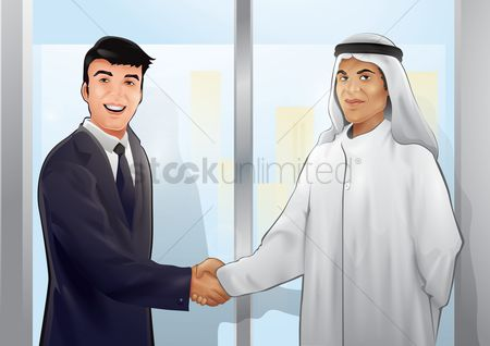 Business deal : Businessman shaking hands with an arabic man