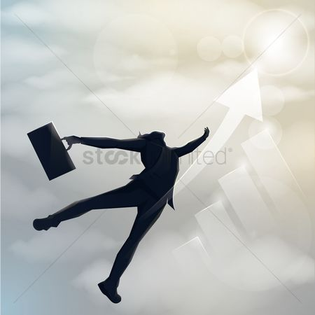 Increase : Businessman silhouette flying upwards