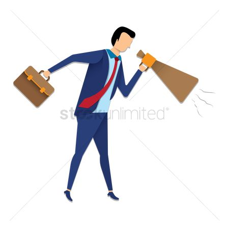 Workers : Businessman with a briefcase and megaphone