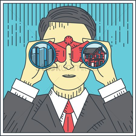 Office  building : Businessman with binoculars