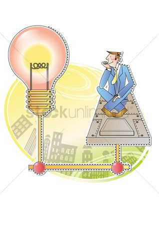 Contemplate : Businessman with bulb