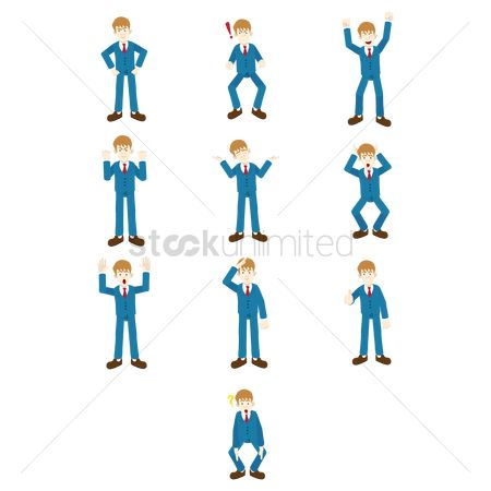 Cheering : Businessman with expressions