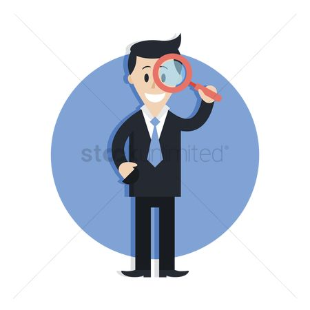 Smart : Businessman with magnifying glass
