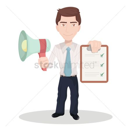 Achievement : Businessman with megaphone and clipboard