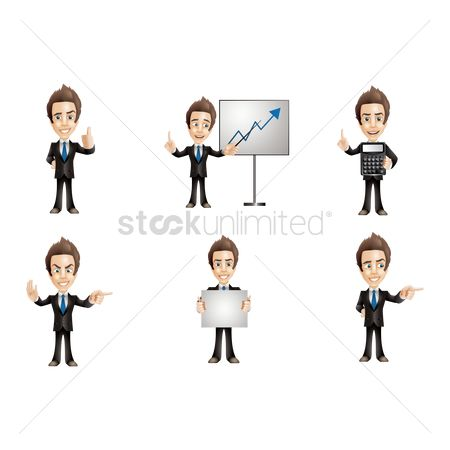 Businesspeople : Businessman with various activities collection