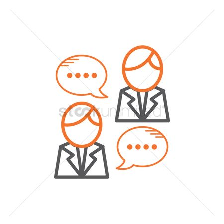 Businesspeople : Businessmen with chat bubbles