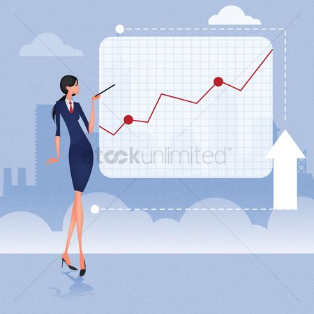 Lady : Businesswoman giving presentation